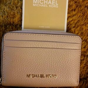 New MK Michael Kors Light Pink Leather Mini Wallet